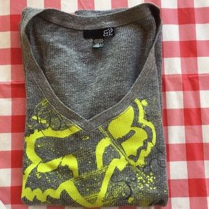 Fox V Neck Long Sleeve Thermal Size L